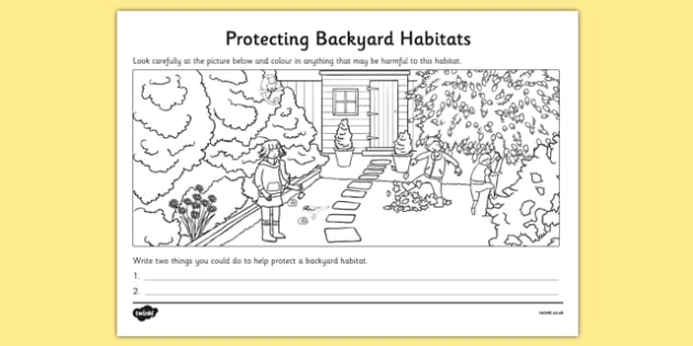 Protecting Backyard Habitats Colouring Activity - australia, Science, Year 1, Backyard, Habitats, Australian Curriculum, Living, Living Adventure, Environment, Living Things, Animals, Plants, Worksheet