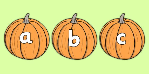 A-Z Alphabet on Pumpkins - Pumpkin, pumpkins, Alphabet frieze, Display letters, Letter posters, A-Z letters, Alphabet flashcards, harvest, fruit