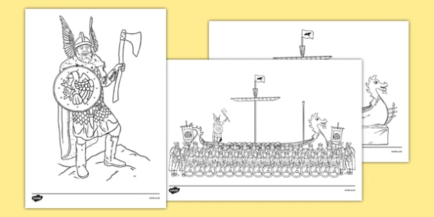 Up Helly Aa Colouring Sheets - CfE, Vikings, Scotland, Shetland, fire festival, longship