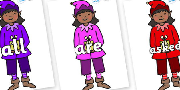 Tricky Words on Girl Elves (Multicolour) - Tricky words, DfES Letters and Sounds, Letters and sounds, display, words