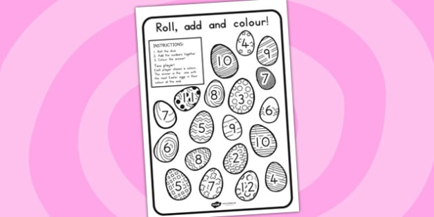 Easter Egg Colour and Roll Worksheet - easter, roll, colour, RE