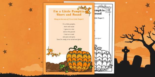 I'm a Little Pumpkin Short and Round Rhyme - EYFS, Halloween, pumpkin, poem