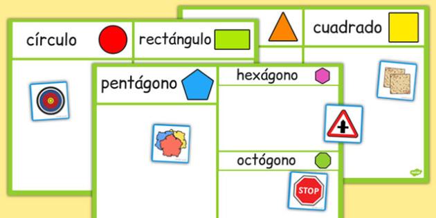 2D Shape Sorting Activity Spanish - spanish, 2d shape, sorting activity, sorting, activity