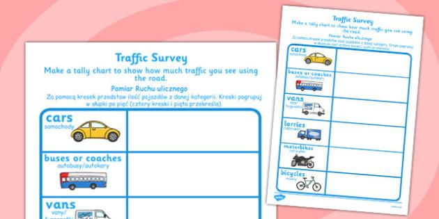 Traffic Survey Worksheet Polish Translation -  cars, vehicles, traffic, transport, roads, count, survey, data, handling