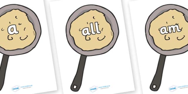 Foundation Stage 2 Keywords on Pancakes - FS2, CLL, keywords, Communication language and literacy,  Display, Key words, high frequency words, foundation stage literacy, DfES Letters and Sounds, Letters and Sounds, spelling