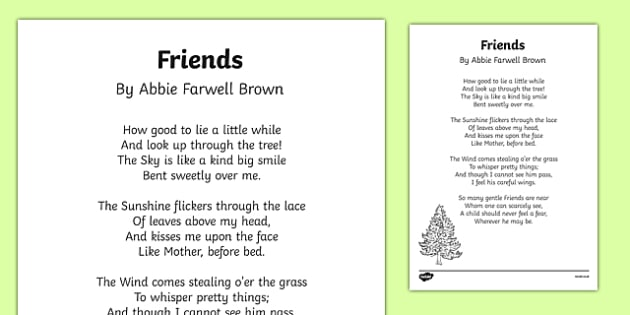 Friends by Abbie Farwell Brown Poem Print Out