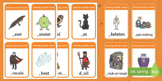 Halloween Themed Missing Sound Cards Phase 2 Activity