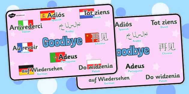 Mixed Language Goodbye Display Signs - Goodbye sign, adios, adeus, auf Wiedersehen, au revoir, bye, language, different languages