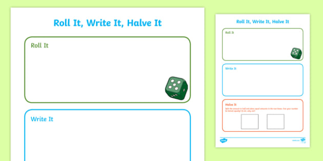Roll it, Count it, Halve it Activity Sheet