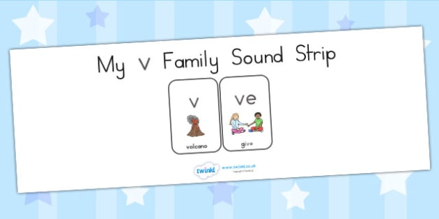My V Family Sound Strip - sound family, visual aid, literacy