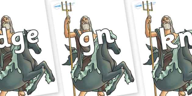 Silent Letters on Poseidon - Silent Letters, silent letter, letter blend, consonant, consonants, digraph, trigraph, A-Z letters, literacy, alphabet, letters, alternative sounds