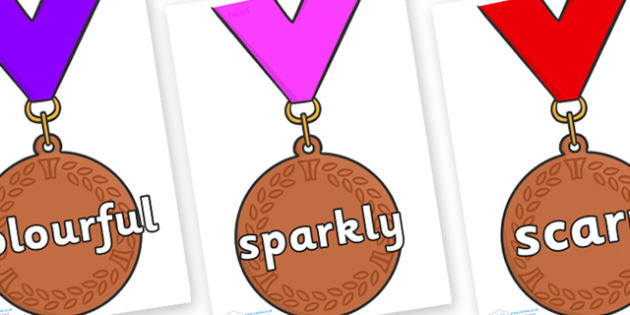 Wow Words on Bronze Medal - Wow words, adjectives, VCOP, describing, Wow, display, poster, wow display, tasty, scary, ugly, beautiful, colourful sharp, bouncy