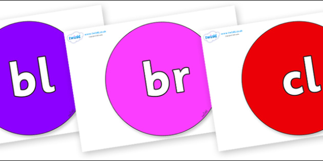 Initial Letter Blends on Circles - Initial Letters, initial letter, letter blend, letter blends, consonant, consonants, digraph, trigraph, literacy, alphabet, letters, foundation stage literacy
