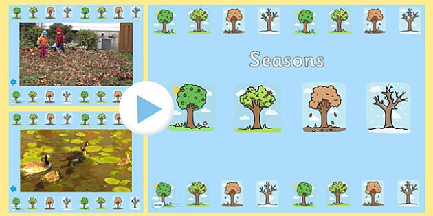 Seasons Video PowerPoint - seasons, seasons powerpoint, seasons videos, videos of the seasons, seasons interactive powerpoint, powerpoint, video powerpoint