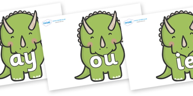 Phase 5 Phonemes on Triceratops Dinosaurs - Phonemes, phoneme, Phase 5, Phase five, Foundation, Literacy, Letters and Sounds, DfES, display