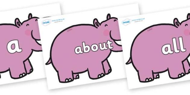 100 High Frequency Words on Hippos - High frequency words, hfw, DfES Letters and Sounds, Letters and Sounds, display words