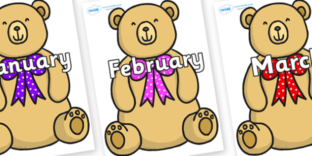 Months of the Year on Bow Tie Teddy - Months of the Year, Months poster, Months display, display, poster, frieze, Months, month, January, February, March, April, May, June, July, August, September
