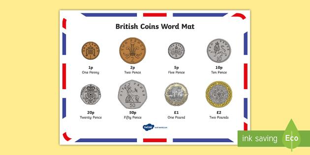 New British (UK) Coins Word Mat - money, coin mat, maths,