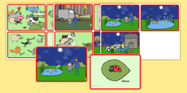 Story Sequencing Cards to Support Teaching on What the Ladybird Heard - what the ladybird heard, story sequencing, story sequencing cards, 4 per A4, ordering, sequencing