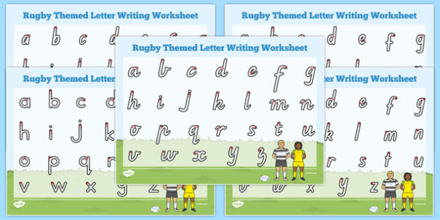 Rugby Themed Letter Writing Worksheet - australia, rugby, letter