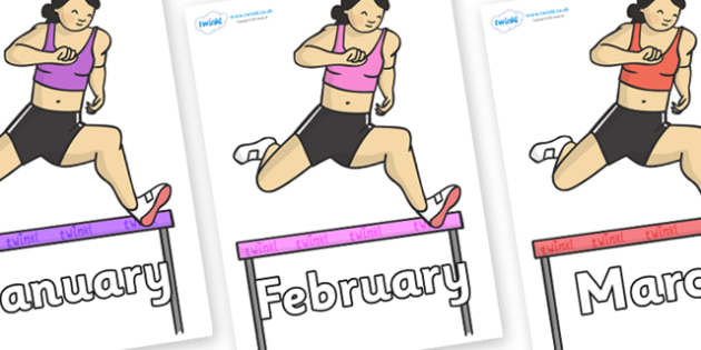 Months of the Year on Hurdles - Months of the Year, Months poster, Months display, display, poster, frieze, Months, month, January, February, March, April, May, June, July, August, September