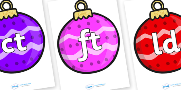 Final Letter Blends on Baubles (Patterned) - Final Letters, final letter, letter blend, letter blends, consonant, consonants, digraph, trigraph, literacy, alphabet, letters, foundation stage literacy