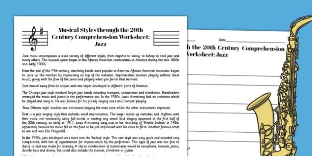 Jazz Reading Comprehension Activity - jazz, comprehension, worksheet