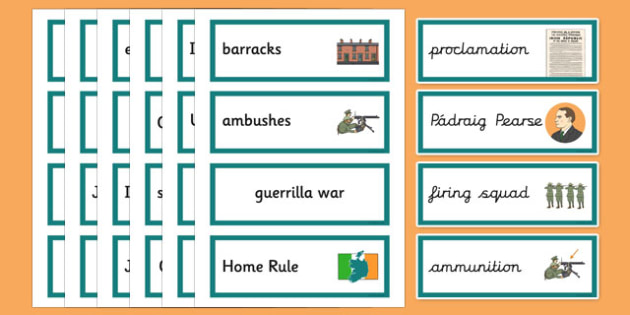 1916 Rising Vocabulary Flashcards - Easter 1916 Rising, irish history, vocabulary flashcards