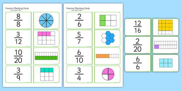 Fractions Matching Cards Arabic Translation - arabic, fractions, matching cards, matching, matching fractions, fraction cards, numeracy cards, numeracy, numeracy game, fraction game