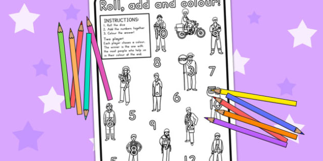 Colour and Roll Worksheet - colouring, colouring activities, game
