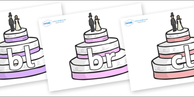 Initial Letter Blends on Wedding Cakes - Initial Letters, initial letter, letter blend, letter blends, consonant, consonants, digraph, trigraph, literacy, alphabet, letters, foundation stage literacy