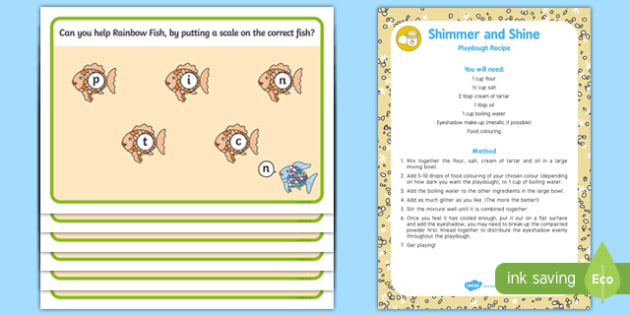 Phonics Playdough Recipe and Mat Pack to Support Teaching on The Rainbow Fish