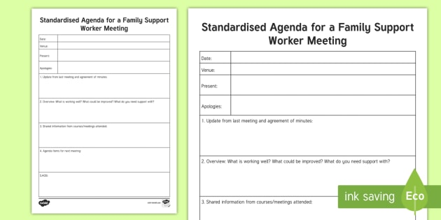 Standard Agenda For A Family Support Worker Meeting Planning
