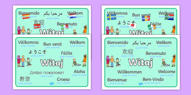 Mixed Language Welcome Signs Polish - polish, Welcome sign, bienvenido, bienvenue, wilkommen, welcome, language, different languages