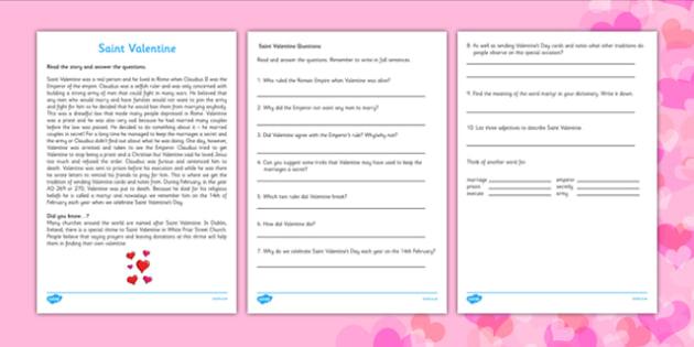 Saint Valentine Reading Comprehension Activity - gaeilge, Saint Valentine, comprehension, reading, questions, religion