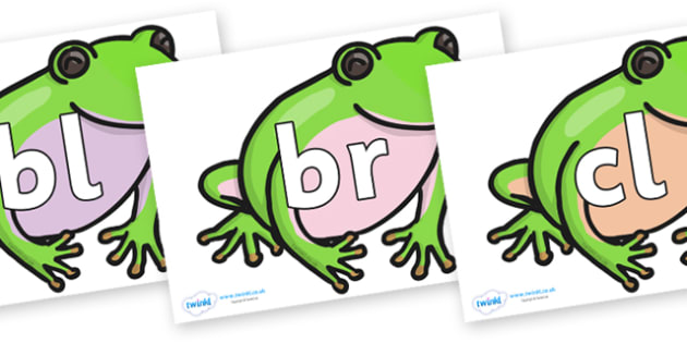 Initial Letter Blends on Green Tree Frog - Initial Letters, initial letter, letter blend, letter blends, consonant, consonants, digraph, trigraph, literacy, alphabet, letters, foundation stage literacy