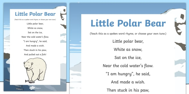 Little Polar Bear Rhyme - winter, arctic, Antarctic, polar, polar bears, rhyme