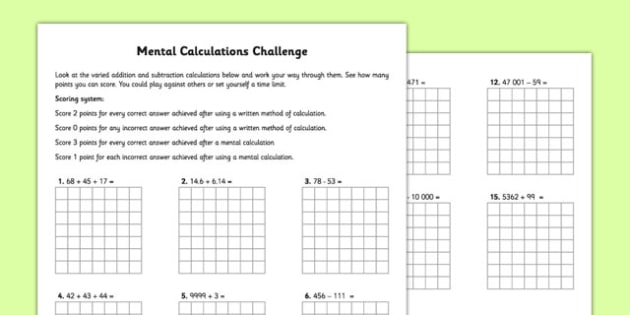Mental Calculations Challenge - mental maths, mental, calculations, challenge