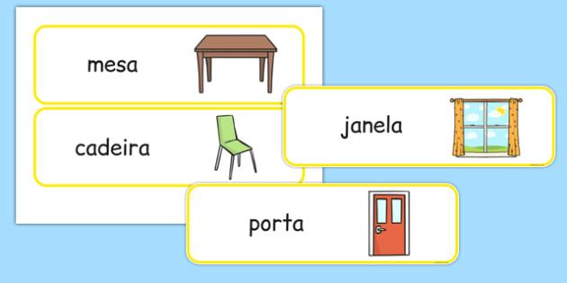 Classroom Furniture labels Portuguese - portuguese, classroom, furniture, labels