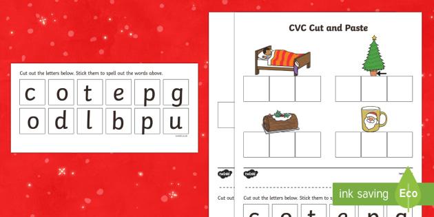 Christmas CVC Words Cut and Paste Activity