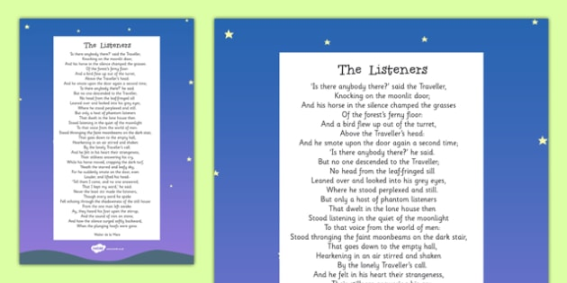 The Listeners by Walter de la Mare Poem Print-Out - poem, print out, poetry, key stage 2 poetry, ks2, the listeners, walter de la mare