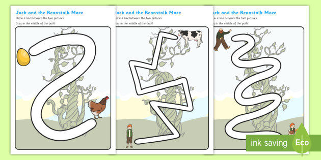 Jack and the Beanstalk Pencil Control Path Sheets - jack and the beanstalk, pencil control, themed pencil control sheets, themed worksheets