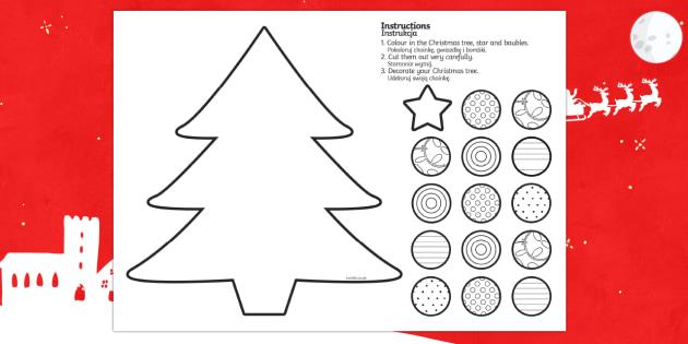Cutting Skills Christmas Tree Activity English/Polish - Cutting Skills Christmas Tree Activity - cutting, christmas, xmas, chritmas, chriatmas, christms, ch