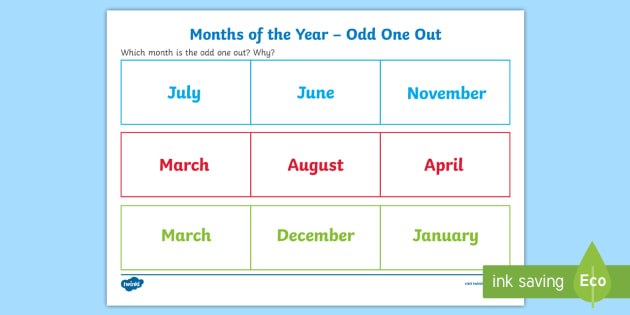 Months of the Year Odd One Out Game - reasoning, explain, speaking, listening, justify, reason, talk