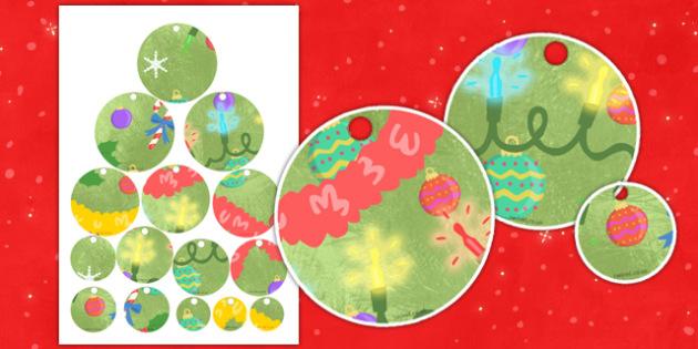 Christmas Tree Decorations Threading Activity - christmas, decoration