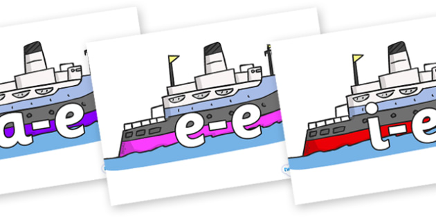 Modifying E Letters on Boats - Modifying E, letters, modify, Phase 5, Phase five, alternative spellings for phonemes, DfES letters and Sounds