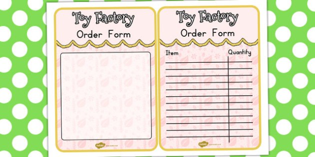 Toy Factory Booking Order Form - australia, toy factory, order