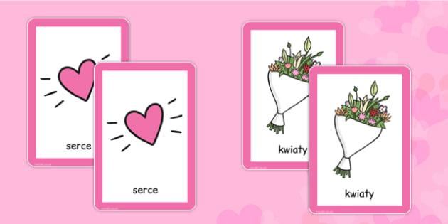 Valentine's Day Pairs Matching Game Polish - polish, valentines, day, pairs