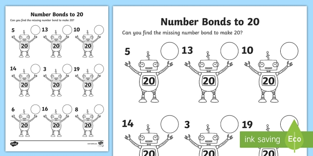 Number Bonds to 20 on Robots Worksheet - number bonds, 20, robots, worksheet