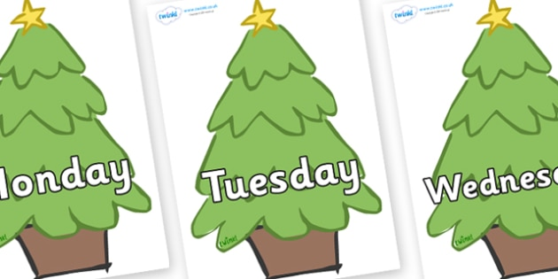 Days of the Week on Christmas Trees (Plain) - Days of the Week, Weeks poster, week, display, poster, frieze, Days, Day, Monday, Tuesday, Wednesday, Thursday, Friday, Saturday, Sunday